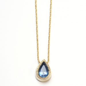 Aquamarinanhänger Gold mit Diamanten
