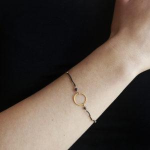 Armband, Nylon, Goldkreis
