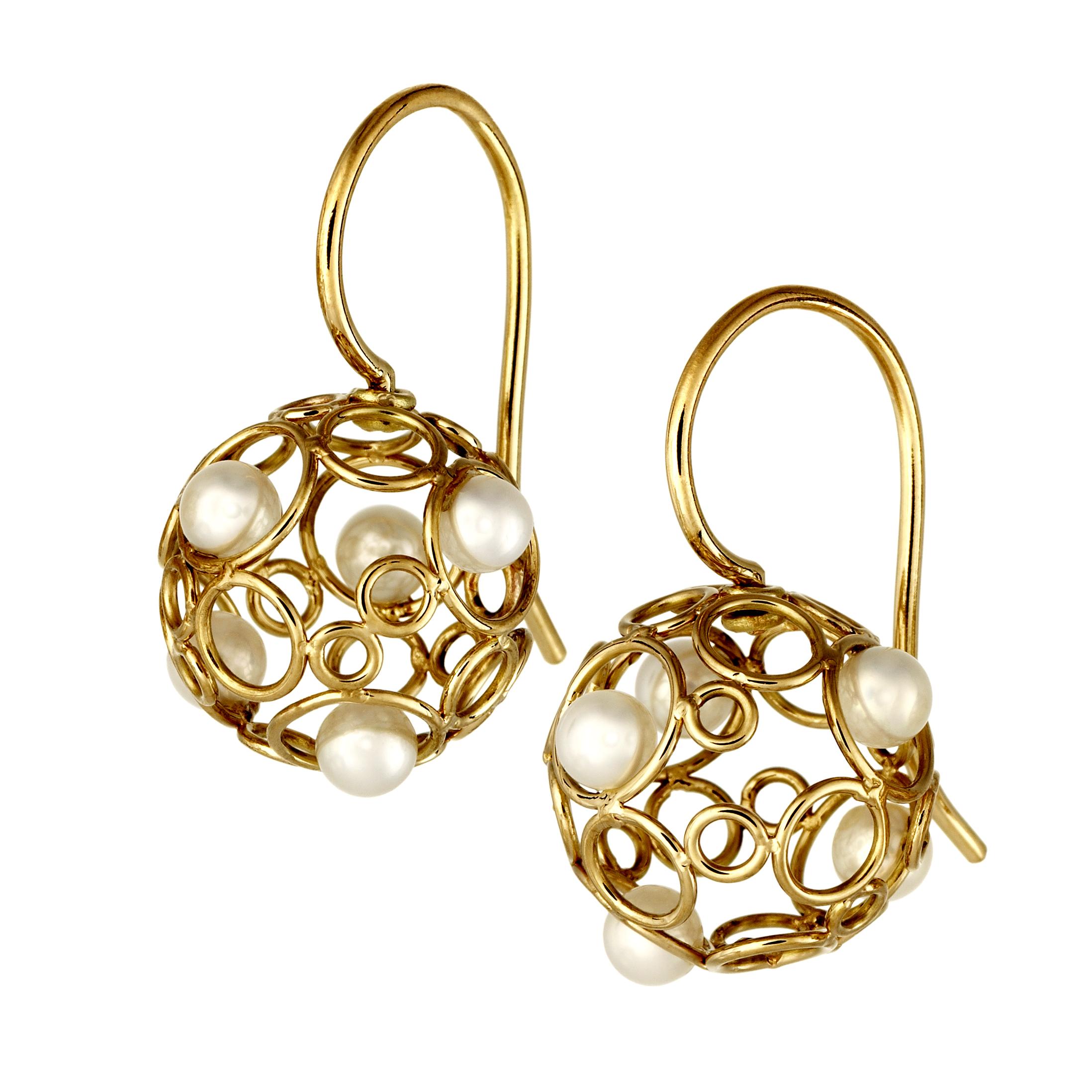 Ohrhänger-Bubbles-Perlen-Gelbgold-Auffanger