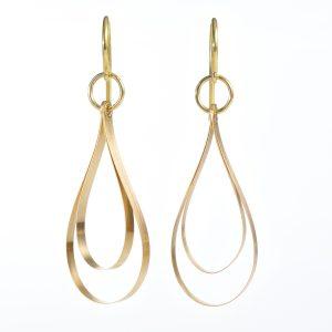Gold Ohrhänger kleine Goldband-Tropfen