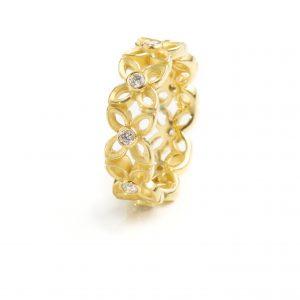 Ring, Kl. got. 4-Blatt, 750/Rosé, Brillanten 0,36ct