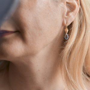 Gold Ohrhänger Drachenkopf Topas