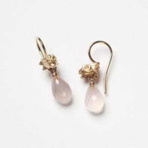 Ohrhänger, Drachenkopf, Rosenquarzpampel 750/Rosé