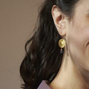 Ohrhänger Scheibe mit Tansanit