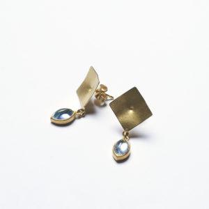 Quadratische Ohrhänger mit Aquamarin