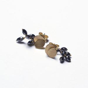 Ohrstecker Plättchen mit schwarzen Diamanten